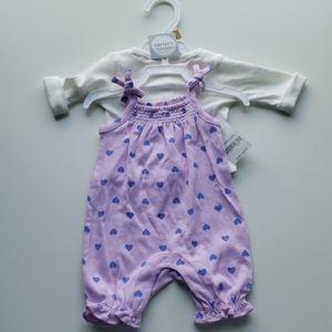 Carter's Two Piece Set Newborn Purple/ Hearts
